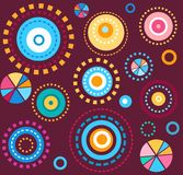 Background, geometric, circles, colorful, fireworks, wine red, seamless, abstract. The geometric pattern of colorful circles on a plum background. Children's Stock Photos