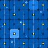 Background, geometric, seamless, large blue squares on dark blue. Royalty Free Stock Image