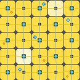 Background, geometric, seamless, large yellow squares on a dark grey. Royalty Free Stock Image