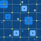 Background, geometric, seamless, squares and stripes, blue. Royalty Free Stock Photo