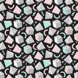 Vector abstract background. Background with geometric shapes, the design of the 80s - vector illustration. In retro memphis group style seamless stock illustration