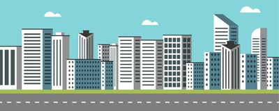 Background Geometry flat city landscape 03. Flat design geometry style vector illustration for skyscrapers and business district landscape theme. For web banners Stock Photo