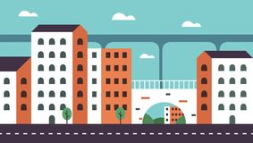 Background Geometry flat city landscape 01. Flat design geometry style vector illustration for city landscape theme. For web banners Royalty Free Stock Photo