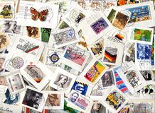 Background of German commemorative postage stamps Stock Photos