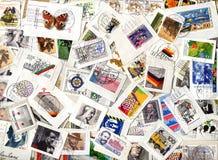 Background of German commemorative postage stamps. GERMANY - circa 1970-2005: Horizontal background of German commemorative and definitive postage stamps on Stock Photos