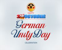 Background for German Unity day, celebration. Holiday design, background with handwriting, 3d texts and national flag colors for third of October, Day of German royalty free illustration
