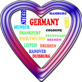Background. Germany in the Europe and Germany's cities as background, with form of the heart Royalty Free Stock Photos