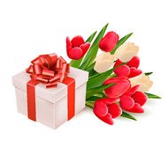 Background with gift box and flowers. Royalty Free Stock Image