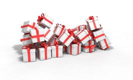 Background of gift boxes model, 3d render Stock Images
