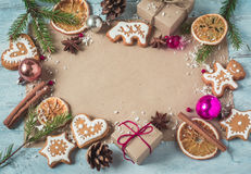 Background gifts, Christmas cookies and fir branches a blue back Stock Image