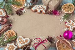 Background gifts, Christmas cookies and fir cones Stock Photography