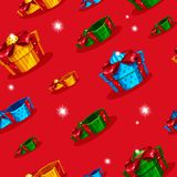 Background with gifts. Seamless pattern with gifts open and closed Stock Image