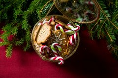 Background of gingerbread and candy cane jar royalty free stock images
