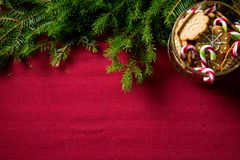 Background of gingerbread and candy cane jar royalty free stock photo