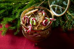 Background of gingerbread and candy cane jar stock photo