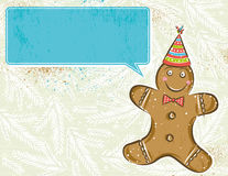 Background with Gingerbread man and label, vector Royalty Free Stock Images
