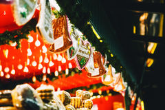 Background with gingerbreads at the Christmas market in Salzburg. Austria. Holidays, Christmas, Family, Winter concept Royalty Free Stock Photos