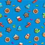 Background with gingerbreads. Seamless backgrounds with Christmas gingerbreads. Four versions of color, vector illustration Stock Photography