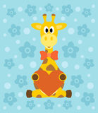 Background with giraffe cartoon Royalty Free Stock Images
