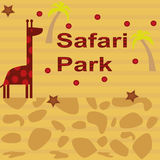 Background with giraffe and palm tree Royalty Free Stock Image