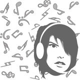 Background with girl listening to music. And musical notes Stock Photography