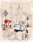 Background with girls and the English sights. Fashion background decorated with girls drinking coffee, the London sights, a motorbike, a cup of coffee stock illustration
