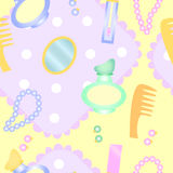 Background for girls. Sanitary products and make-up on a kerchief for girls royalty free illustration
