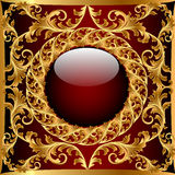 Background with glass ball and gold(en) pattern Stock Photo