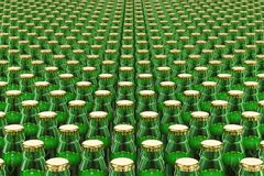Background from glass beer bottles, 3d. Rendering Stock Images