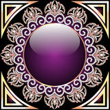 Background with glass circle and purple ornaments with precious Stock Images