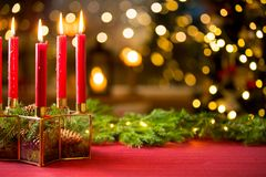 Background of glass and gold candleholder royalty free stock photography