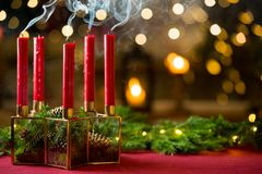 Background of glass and gold candleholder royalty free stock photos