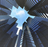 Background of glass highrise building skyscraper, modern. Glass highrise building skyscraper and blue sky Stock Photo