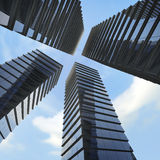 Background of glass highrise building skyscraper, modern. Modern building and blue sky Stock Image