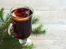 Background with glass of mulled wine Stock Images