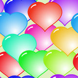 Background with glass multicolor hearts Stock Image