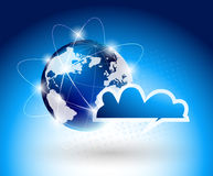 Background with glboe and cloud Stock Image