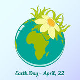 Background with globe and flower in cartoon style for World Earth Day. Environmental and Climate Literacy. Vector. Background with globe and flower in simple royalty free illustration