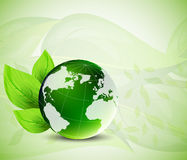Background with globe and leaves Royalty Free Stock Photography