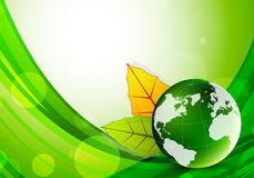 Background with globe and leaves Stock Photography