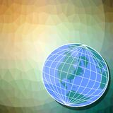 Background with globe motif - western hemisphere on triangle patterned area Royalty Free Stock Photo
