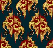 Seamless background with gold dragons. rich seamless background with gold dragons. Background for the gloomy fairy tale. Two gold dragons on a dark blue vector illustration