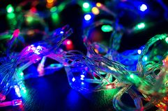 Background with glowing Christmas garland Stock Image