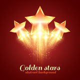 Background with glowing golden stars Stock Image