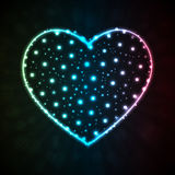Background with glowing heart-shape Stock Photography