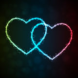 Background with glowing heart-shape Stock Image