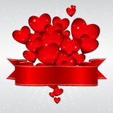 Background with glowing hearts. And a festive ribbon Royalty Free Stock Image