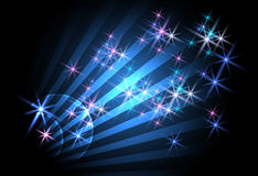 Background with  glowing rays. And stars Royalty Free Stock Images