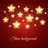 Background with Glowing Stars. Golden glowing stars background with place for text Stock Photos