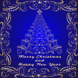 Background with gold abstract Christmas tree Royalty Free Stock Photography